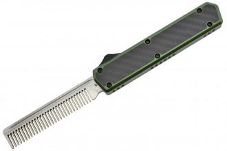 Golgoth G11A2 Vert. Couteau automatique OTF peigne acier D2 manche aluminium vert et fibre de carbone