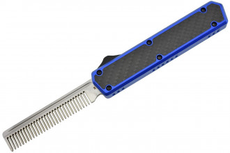 Golgoth G11A4 Bleu. Couteau automatique OTF peigne acier D2 manche aluminium bleu et fibre de carbone