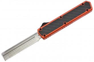 Golgoth G11A5 Orange. Couteau automatique OTF peigne acier D2 manche aluminium orange et fibre de carbone