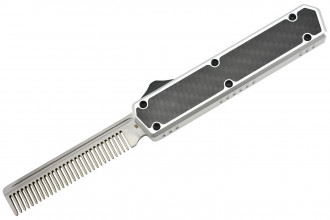 Golgoth G11A6 Silver. Couteau automatique OTF peigne acier D2 manche aluminium silver et fibre de carbone