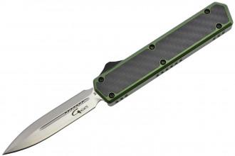 Golgoth G11B2 Vert. Couteau automatique OTF lame double tranchant acier D2 manche aluminium vert et fibre de carbone
