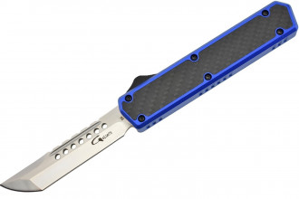 Golgoth G11D4 Bleu. Couteau automatique OTF lame acier D2 manche aluminium bleu et fibre de carbone