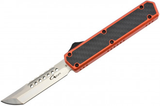 Golgoth G11D5 Orange.  Couteau automatique OTF lame acier D2 manche aluminium orange et fibre de carbone