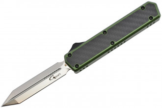 Golgoth G11E2 Vert.  Couteau automatique OTF lame Glaive double tranchant acier D2 manche aluminium vert et fibre de carbone