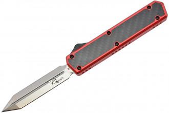 Golgoth G11E3 Rouge Couteau automatique OTF lame Glaive double tranchant acier D2 manche aluminium rouge et fibre de carbone