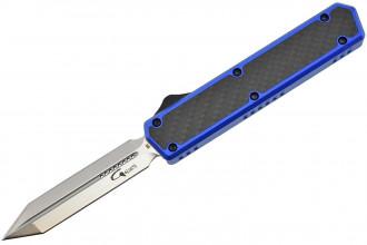 Golgoth G11E4 Bleu. Couteau automatique OTF  lame Glaive double tranchant acier D2 manche aluminium bleu et fibre de carbone