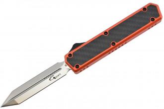 Golgoth G11E5 Orange. Couteau automatique OTF lame Glaive double tranchant acier D2 manche aluminium orange et fibre de carbone