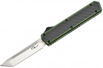 Golgoth G11F2 Vert. Couteau automatique OTF lame tanto acier D2 manche aluminium vert et fibre de carbone
