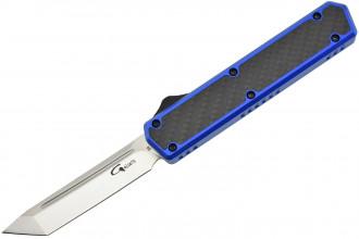 Golgoth G11F4 Bleu. Couteau automatique lame tanto acier D2 manche aluminium bleu et fibre de carbone
