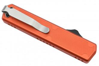Golgoth G11F5 Orange. Couteau automatique lame tanto acier D2 manche aluminium orange et fibre de carbone