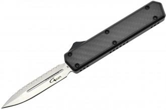 Golgoth G11BS1 Noir. Couteau automatique OTF lame double tranchant avec serrations en acier D2 manche aluminium noir et fibre de carbone