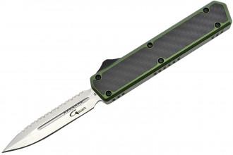 Golgoth G11BS2 Vert. Couteau automatique OTF lame double tranchant avec serrations en acier D2 manche aluminium vert et fibre de carbone