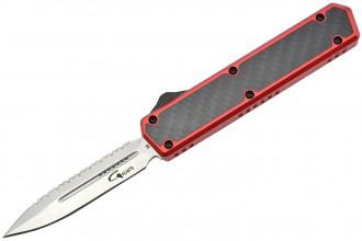Golgoth G11BS3 Rouge. Couteau automatique OTF lame double tranchant avec serrations en acier D2 manche aluminium rouge et fibre de carbone