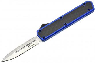 Golgoth G11BS4 Bleu. Couteau automatique OTF lame double tranchant avec serrations en acier D2 manche aluminium bleu et fibre de carbone