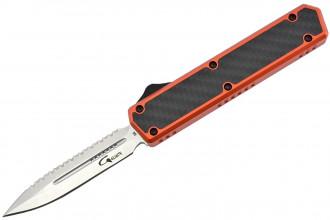 Golgoth G11BS5 Orange. Couteau automatique OTF lame double tranchant avec serrations en acier D2 manche aluminium orange et fibre de carbone