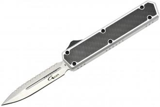 Golgoth G11BS6 Silver. Couteau automatique OTF lame double tranchant avec serrations en acier D2 manche aluminium silver et fibre de carbone