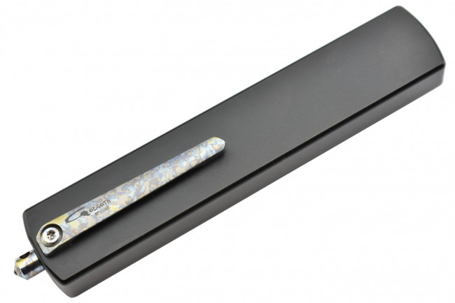 Golgoth G12DT+ couteau automatique lame double tranchant acier D2 manche aluminium