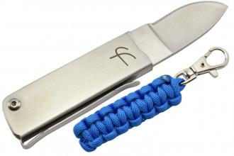 Fred Perrin MK114B Couteau pliant avec porte-clés paracorde bleu