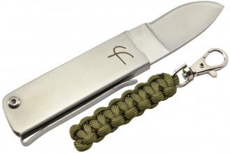 Fred Perrin MK114K Couteau pliant avec porte-clés paracorde kaki