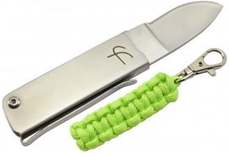 Fred Perrin MK114VC Couteau pliant avec porte-clés paracorde vert clair