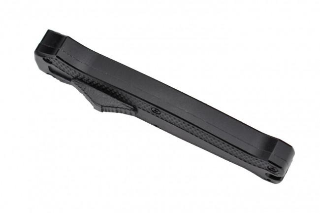 MKO31DE Petit couteau OTF automatique aluminium anodisé noir lame double tranchant