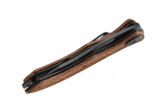 MTech MT-353 lame acier 440 noir et manche acier et cuir