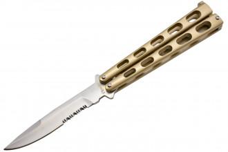 Max Knives P32SC couteau papillon en acier couleur champagne