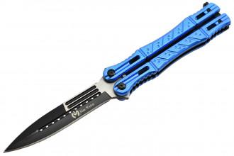 Maxknives P45 Couteau papillon lame acier 3CR13 manche aluminium anodisé bleu