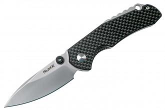 Ruike P671CB Noir Couteau de poche lame acier 14C28N manche G10 et fibre de carbone