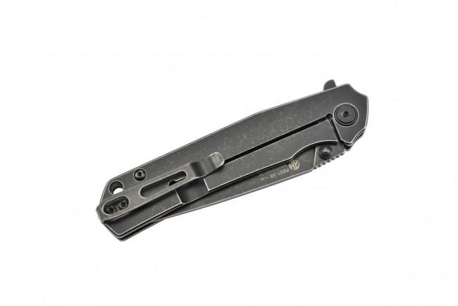 Ruike P801-SB Noir Couteau de poche lame acier 14C28N manche acier 3Cr14N finition délavée